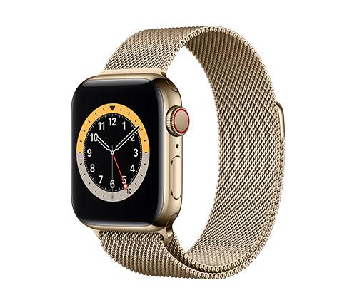שעון חכם אפל Apple Watch Series 6 GPS + Cellular 40mm בצבע Gold Stainless Steel עם רצועת Gold Milanese Loop